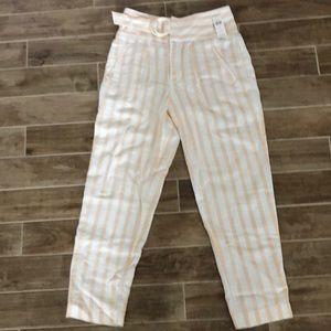 Linen-cotton blend striped pants